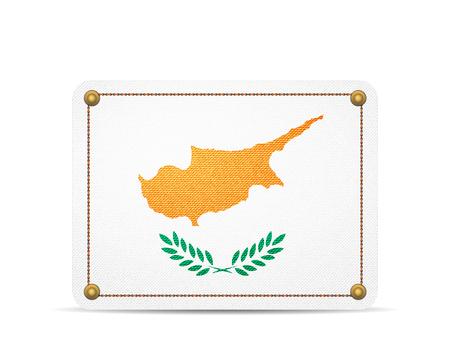 Denim Cyprus flag on a white background.