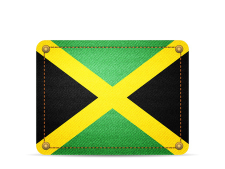 Denim Jamaica flag on a white background.