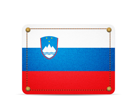 Denim Slovenia flag on a white background.
