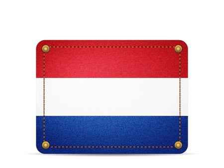 Denim Netherlands flag on a white background. 向量圖像