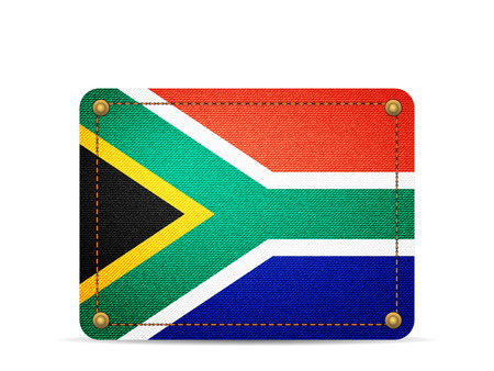 Denim South Africa flag on a white background.