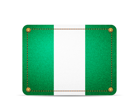 Denim Nigeria flag on a white background.