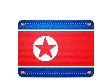 Denim North Korea flag on a white background. 向量圖像
