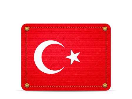 Denim Turkey flag on a white background.