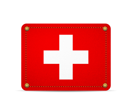 Denim Switzerland flag on a white background.