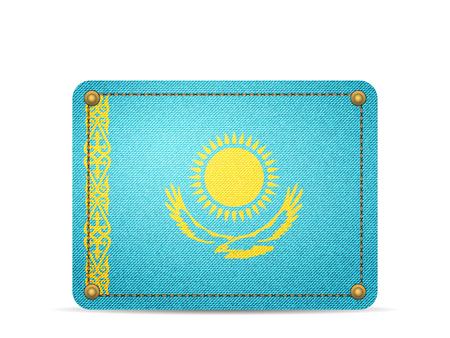 Denim Kazakhstan flag on a white background. 向量圖像