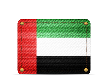 Denim UAE flag on a white background.