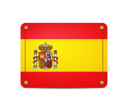 Denim Spain flag on a white background.