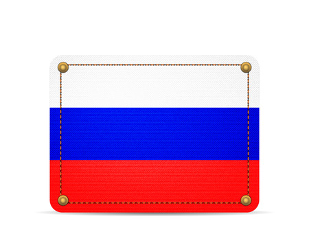Denim Russia flag on a white background.