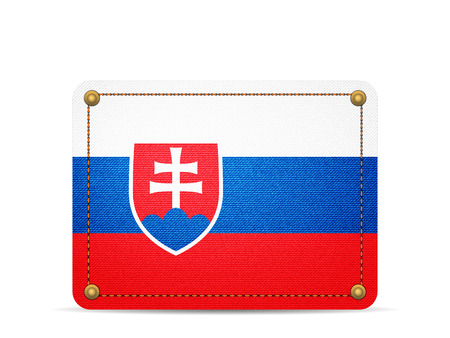 Denim Slovakia flag on a white background. Illustration