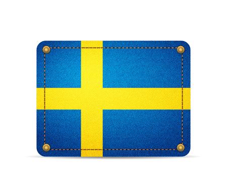 Denim Sweden flag on a white background.