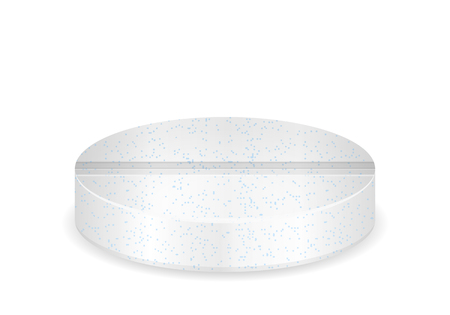 Effervescent vitamin pill on a white background.