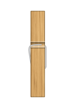 Wooden clothespin on a white background. Vector illustration.