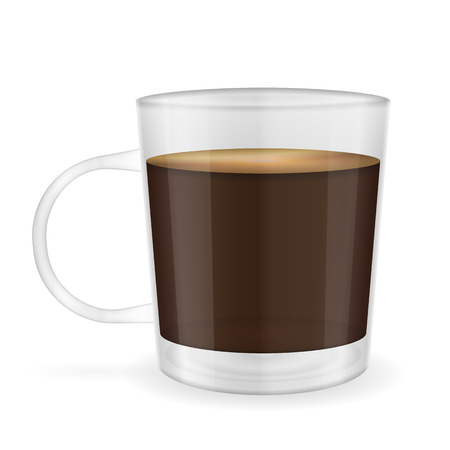 Cup of espresso coffee on a white background.