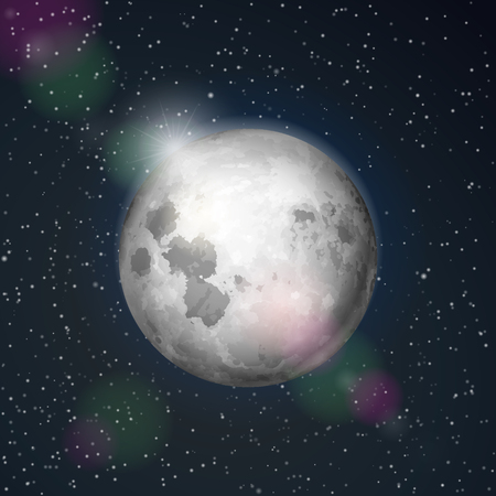 Abstract space background with moon.