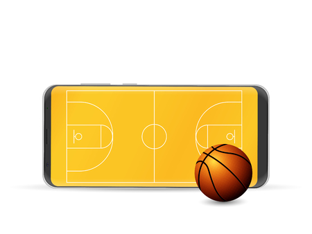 Smart phone basketball on a white background. Vector illustration.