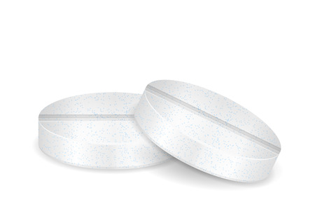 Effervescent vitamin pills on a white background. Vector illustration.