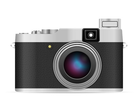 Photo camera on a white background. Vector illustration.