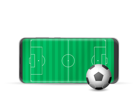 Smart phone soccer on a white background. Vector illustration.