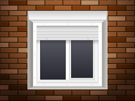 Windows with rolling shutters on brick wall. Vector illustration.