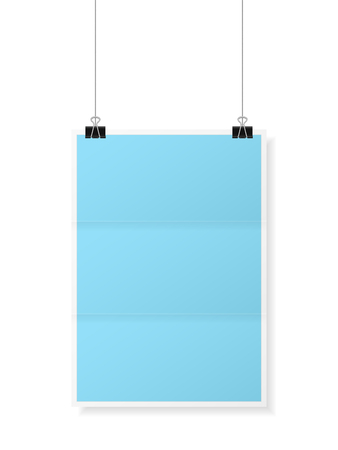Hanging folded paper on a white background. Vector illustration.