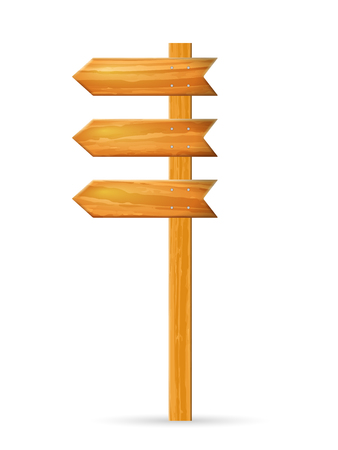 Wooden sign post on a white background. Stock Illustratie