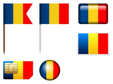 Romania flag set on a white background. Illustration