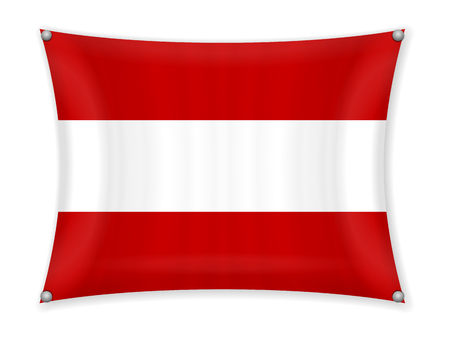 Waving Austria flag on a white background. Illustration
