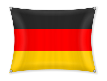 Waving Germany flag on a white background.