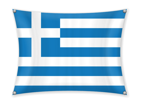 Waving Greece flag on a white background.