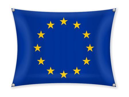 Waving EU flag on a white background. Vectores