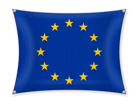 Waving EU flag on a white background. Illustration
