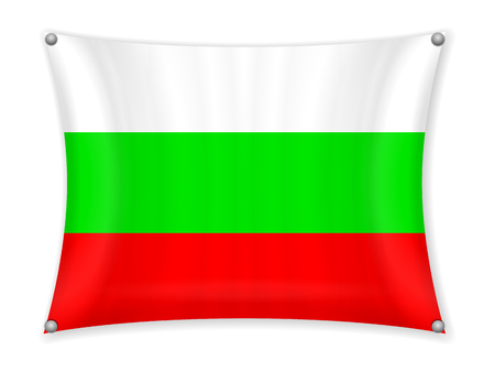 Waving Bulgaria flag on a white background. Illusztráció