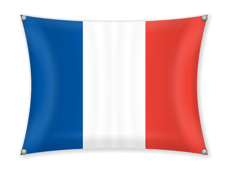 Waving France flag on a white background.