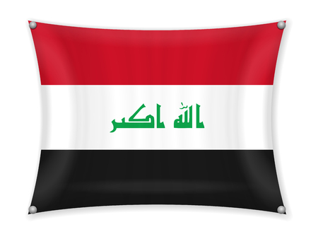 Waving Iraq flag on a white background.