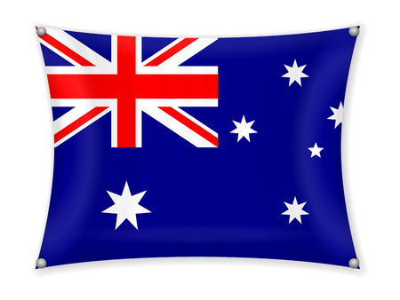 Waving Australia flag on a white background. Illustration