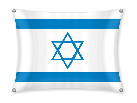 Waving Israel flag on a white background. Illustration