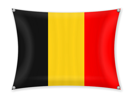 Waving Belgium flag on a white background. Illustration