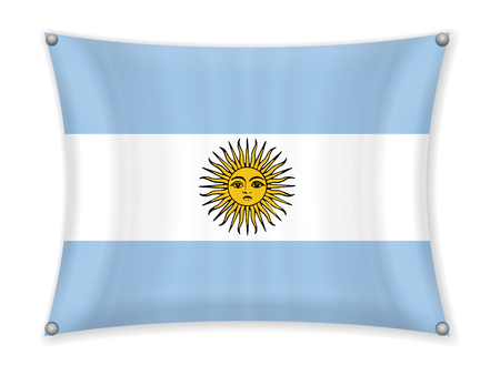 Waving Argentina flag on a white background.