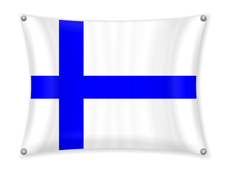 Waving Finland flag on a white background.