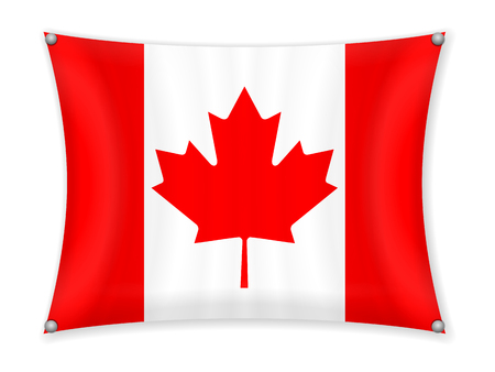 Waving Canada flag on a white background.