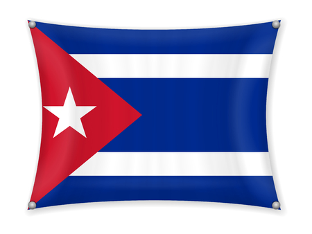 Waving Cuba flag on a white background.