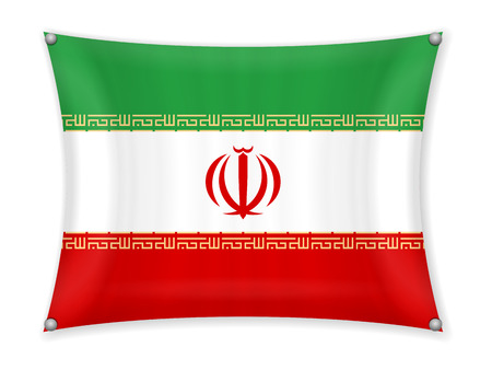 Waving Iran flag on a white background.