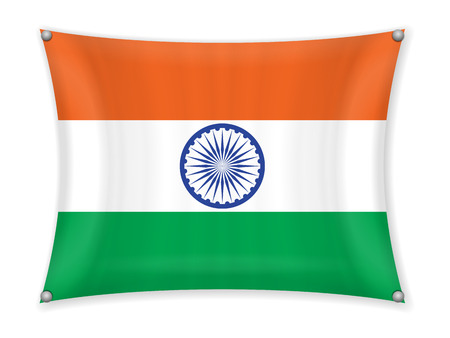 Waving India flag on a white background.