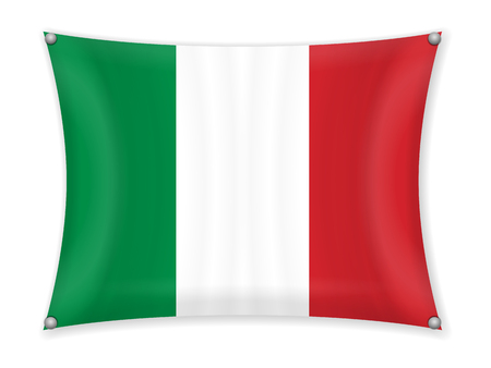 Waving Italy flag on a white background.