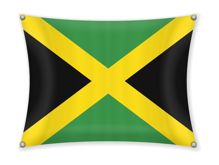 Waving Jamaica flag on a white background. Illustration