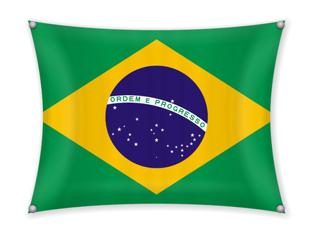 Waving Brazil flag on a white background. Ilustrace