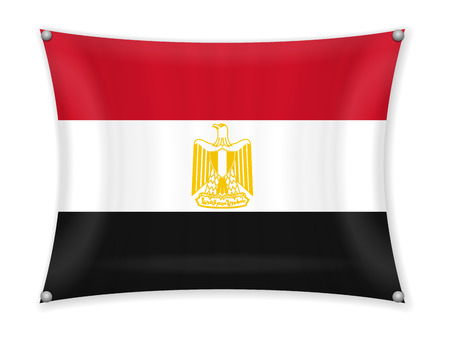 Waving Egypt flag on a white background. Illustration
