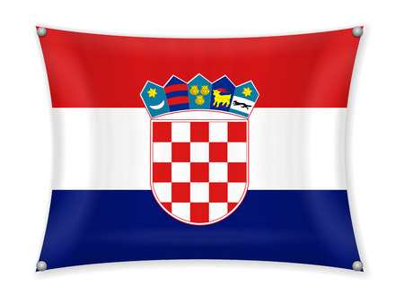 Waving Croatia flag on a white background.