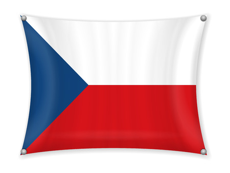 Waving Czech Republic flag on a white background.